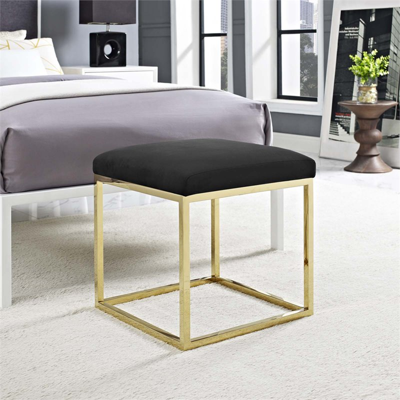 Modway Anticipate Fabric Ottoman in Gold and Black