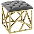 Modway Intersperse Fabric Ottoman in Gold and Gray