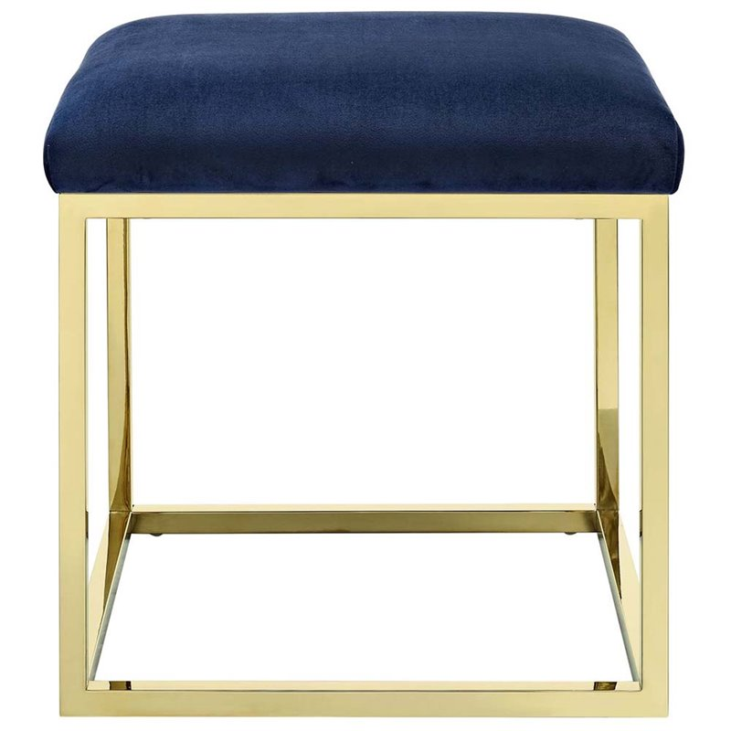 Modway Anticipate Velvet Ottoman in Gold and Navy