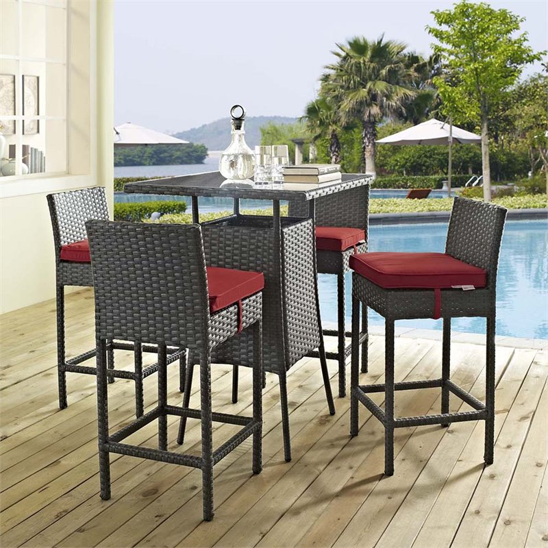 Modway Sojourn 5 Piece Patio Pub Set in Canvas Red and Chocolate