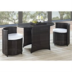 Modway Katonti 3 Piece Outdoor Dining Set in Brown and White