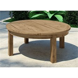Modway Marina Outdoor Teak Round Coffee Table in Natural