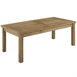 Modway Marina Outdoor Teak Rectangle Coffee Table in Natural