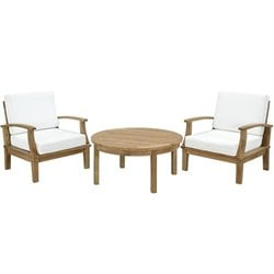 Modway Marina 3 Piece Outdoor Teak Sofa Set in Natural and White