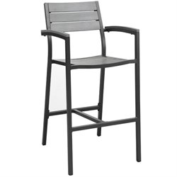 Modway Maine Patio Bar Stool in Brown and Gray