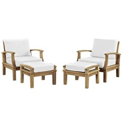 Modway Marina 4 Piece Outdoor Teak Sofa Set in Natural and White