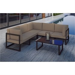 Modway Fortuna 6 Piece Outdoor Sofa Set in Brown and Mocha