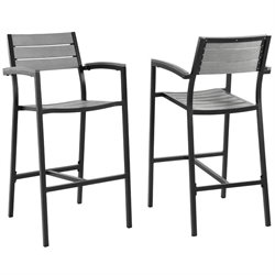 Modway Maine Outdoor Bar Stool in Brown and Gray (Set of 2)