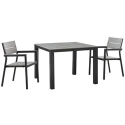 Modway Maine 3 Piece Outdoor Dining Set in Brown and Gray