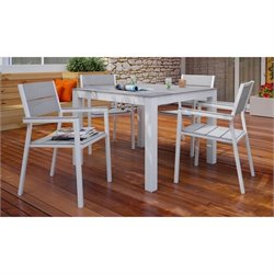 Modway Maine 5 Piece Outdoor Dining Set in White and Light Gray