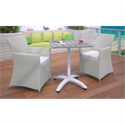 Modway Junction 3 Piece Outdoor Dining Set in Gray and White