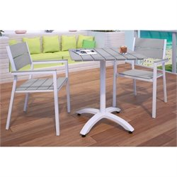 Modway Maine 3 Piece Outdoor Patio Dining Set in White and Light Gray