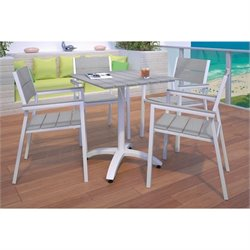 Modway Maine 5 Piece Outdoor Patio Dining Set in White and Light Gray
