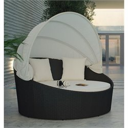 Modway Siesta Canopy Patio Daybed in Espresso and White