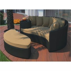 Modway Taiji Patio Daybed in Espresso and Mocha