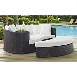 Modway Taiji Patio Daybed in Espresso and White