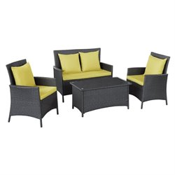 Modway Flourish 4 Piece Outdoor Sofa Set in Espresso and Peridot