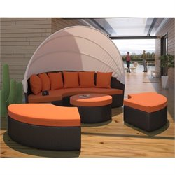Modway Quest Patio Canopy Daybed in Espresso and Orange