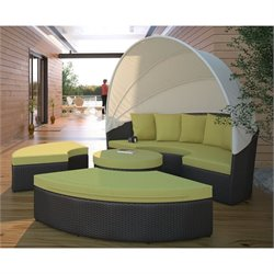 Modway Quest Patio Canopy Daybed in Espresso and Peridot