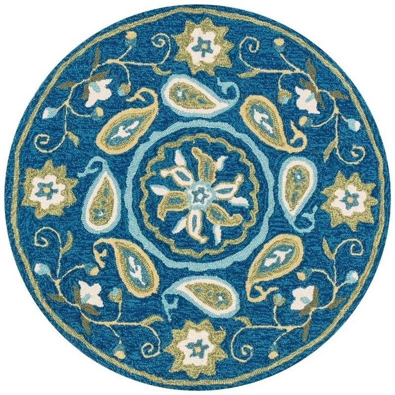 Loloi Francesca 3' Round Hand Hooked Rug in Blue and Green