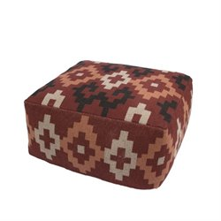 Jaipur Rugs Traditions Made Modern Cotton and Polyester Pouf in Red