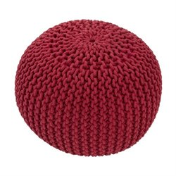 Jaipur Rugs Spectrum Cotton Cylinder Pouf in Red