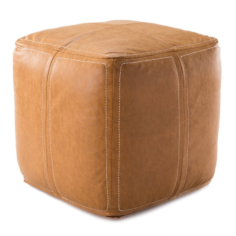 Jaipur Living Ultra By Nikki Chu Leather Square Pouf in Black