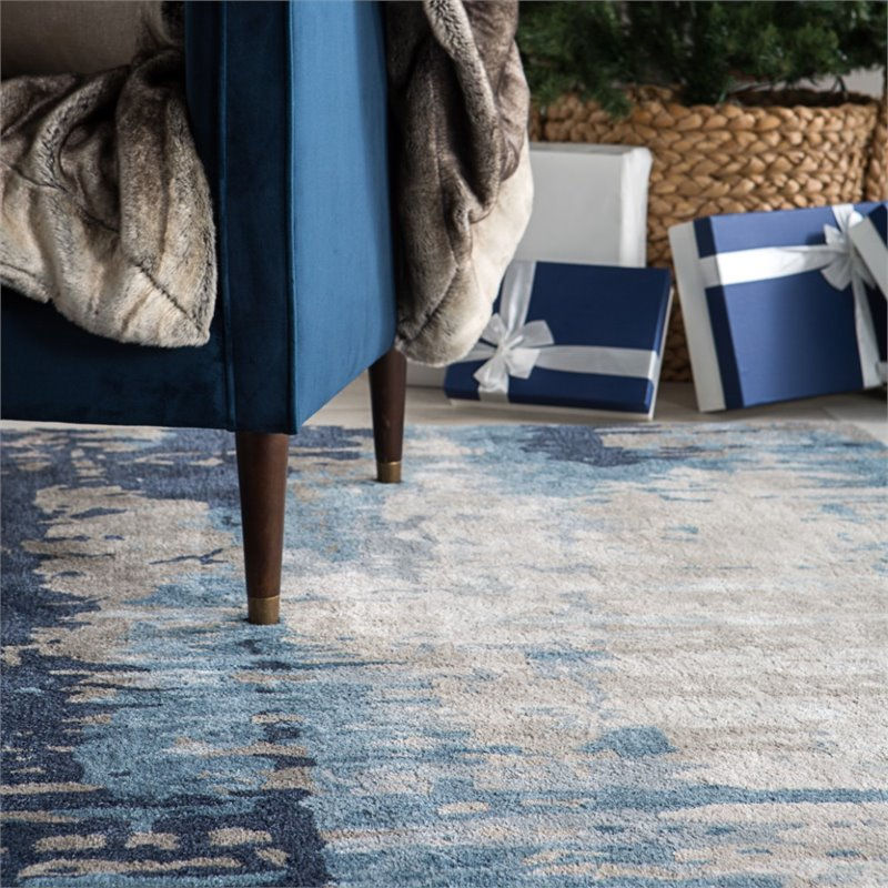 Jaipur Living Genesis 9 X 13 Hand Tufted Viscose Area Rug In Blue And Gray Rug139346