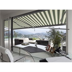 Classic Electric Retractable Patio Awning in Green
