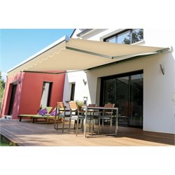 Slim Manualc Retractable Patio Awning in Beige