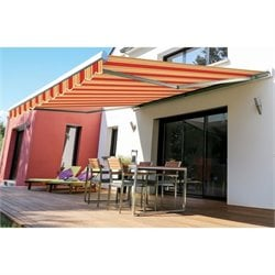 Slim Manualc Retractable Patio Awning in Red