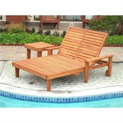 Best Redwood Double Summer Patio Chaise Lounge with Wheels and Table