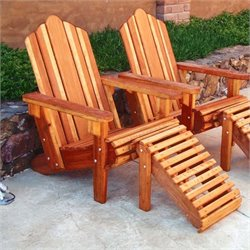 Best Redwood Wood Adirondack Chair and Ottoman