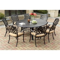 Darlee Ocean View 9 Piece Round Patio Dining Set in Antique Bronze