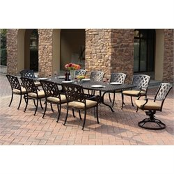 Darlee Ocean View 11 Piece Extendable Patio Dining Set in Bronze