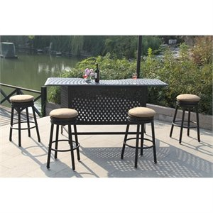 Darlee Backless 5 Piece Patio Pub Set in Antique Bronze