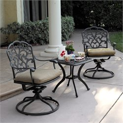 Darlee Catalina 3 Piece Patio Bistro Set in Antique Bronze