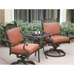 Darlee Charleston 3 Piece Patio Bistro Set in Antique Bronze
