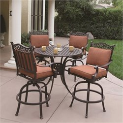 Darlee Charleston 5 Piece Patio Pub Set in Antique Bronze