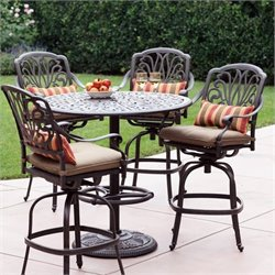Darlee Elisabeth 5 Piece Patio Pedestal Pub Set in Antique Bronze