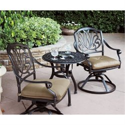 Darlee Elisabeth 3 Piece Patio Bistro Set in Antique Bronze