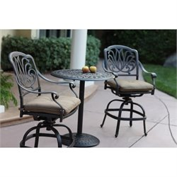 Darlee Elisabeth 3 Piece Patio Counter Height Pub Set in Bronze