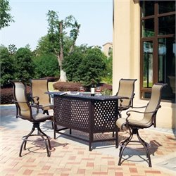Darlee Monterey 5 Piece Patio Pub Set in Antique Bronze