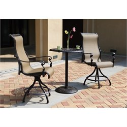 Darlee Monterey 3 Piece Patio Counter Height Pub Set in Antique Bronze