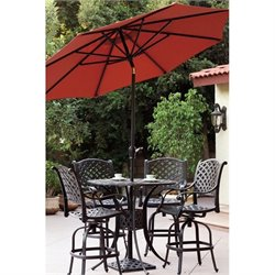 Darlee Nassau 7 Piece Patio Pub Set with Umbrella in Antique Bronze