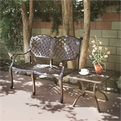 Darlee Nassau 2 Piece Patio Bench Set in Antique Bronze