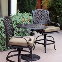 Darlee Nassau 3 Piece Patio Counter Height Pub Set in Antique Bronze