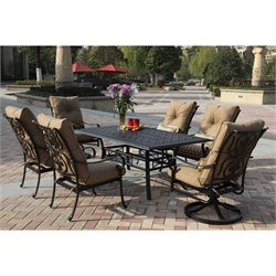 Darlee Santa Anita 7 Piece Patio Dining Set in Antique Bronze