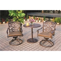 Darlee Santa Monica 3 Piece Patio Bistro Set in Antique Bronze