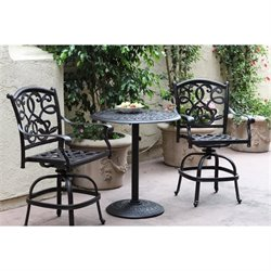Darlee Santa Monica 3 Piece Patio Counter Height Pub Set in Bronze